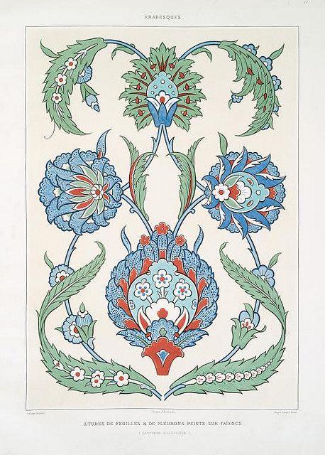 études de feuilles & de fleurons peints sur faïence (grandeur d'exécution) by peacay, via Flickr