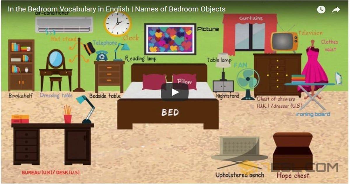 Video Bedroom Vocabulary In English Muebles En Ingles Idiomas