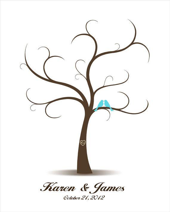 Hochzeit Gästebuch Baum mit Liebesvögel - Curly Fingerabdrücke / Fingerabdruck und Unterschrift Baum für die Hochzeit und Hochzeitstag. Diese Wand-Kunst-Design ist eine einzigartige Alternative zum traditionellen Gästebuch. Ihre Gäste können ihre Daumenabdruck Blatt und melden Sie