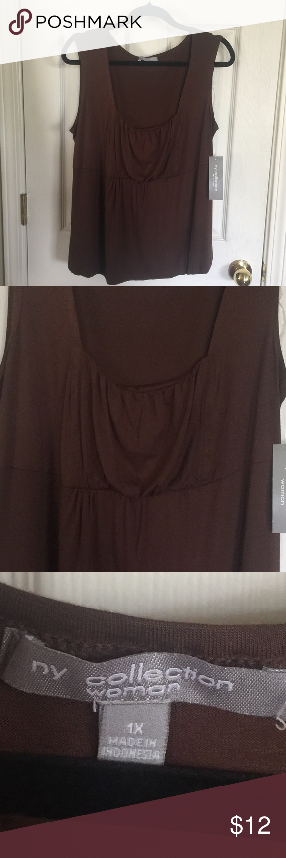 7f9da3d7b664 NEW lightweight chocolate brown top This material is so soft!! Cute pleats  noted in photo. NY Collection Tops