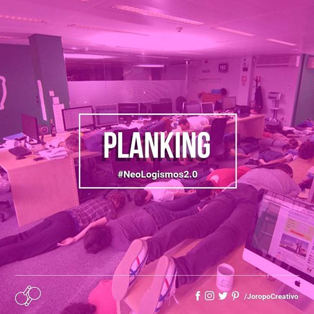 """#Planking  es un término en inglés que se traduce como """"hacerse la tabla"""", es una práctica que consiste en estar tumbado boca abajo en un sitio inusual. Las manos deben tocar los laterales del cuerpo, y ser fotografiado y publicado en Internet forma también parte del juego. Los jugadores compiten por encontrar la ubicación más inusual y original para jugar. ¿Has escuchado algún otro Neologismo?  #Neologismos 2.0 #JoropoCreativo"""