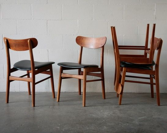 Hans Wegner Style Danish Modern Dining Chairs Set Of 4, Teak Dining Chairs