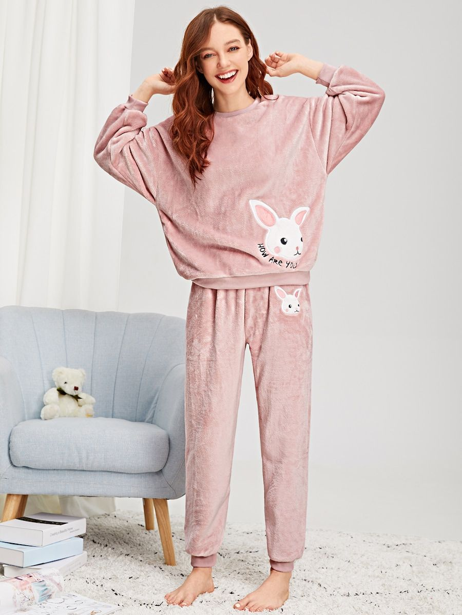 2a14129d50 Rabbit Embroidered Plush Pajama Set -SheIn(Sheinside) | II LINGERIE ...
