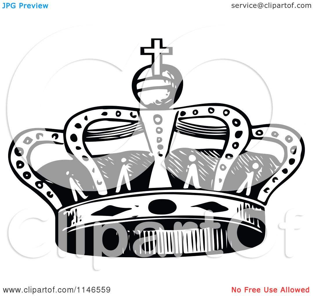 Clipart-Of-A-Retro-Vintage-Black-And-White-Royal-Crown-Royalty-Free-Vector-Illustration-10241146559.jpg (1080×1024)
