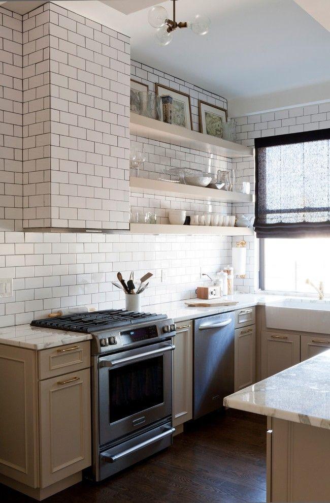 Delightful Beveled White Subway Tile With Open Shelving Apron Sink | Home  Decor | Pinterest | Apron Sink, White Subway Tiles And Open Shelving