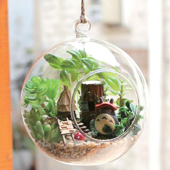 diy 12cm hanging glass terrarium kit diy glass house glass ball dollhouse kits bricolage. Black Bedroom Furniture Sets. Home Design Ideas