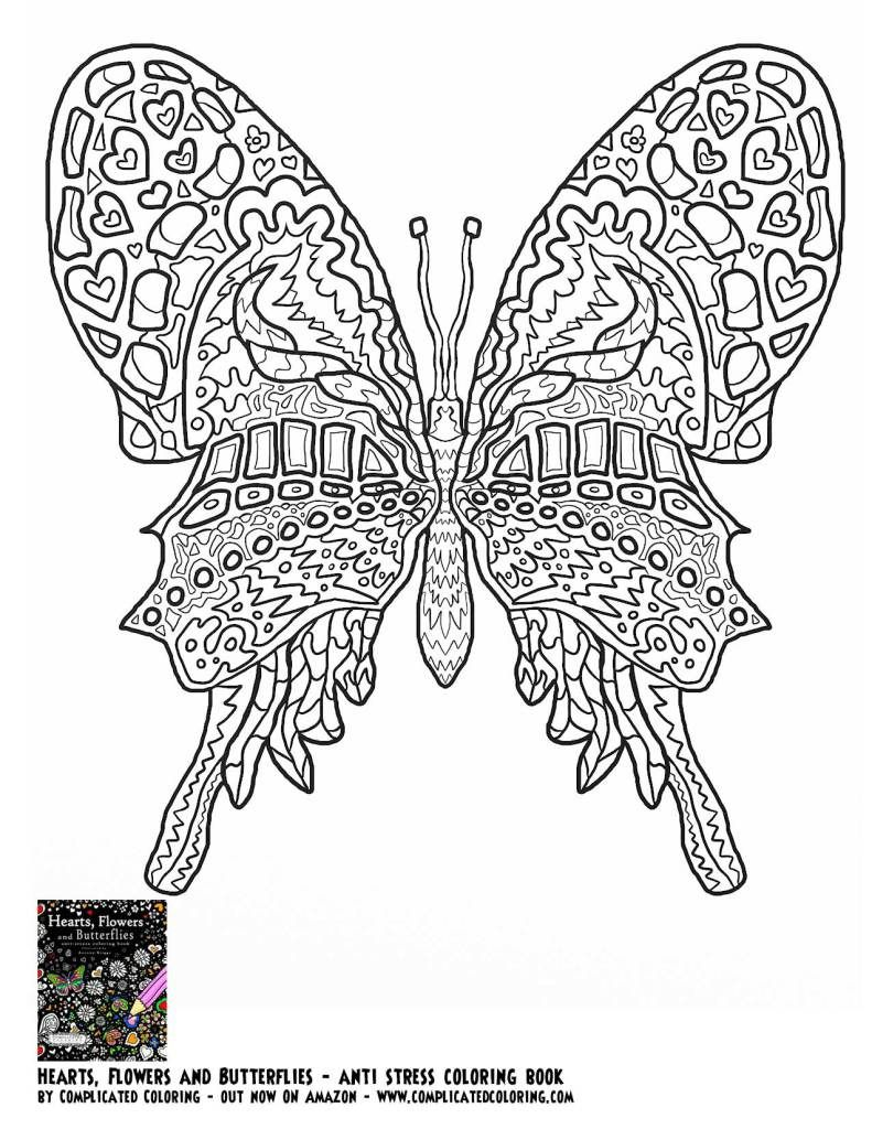Free Coloring Pages Complicated Coloring Butterfly Coloring Page Animal Coloring Pages Flower Coloring Pages