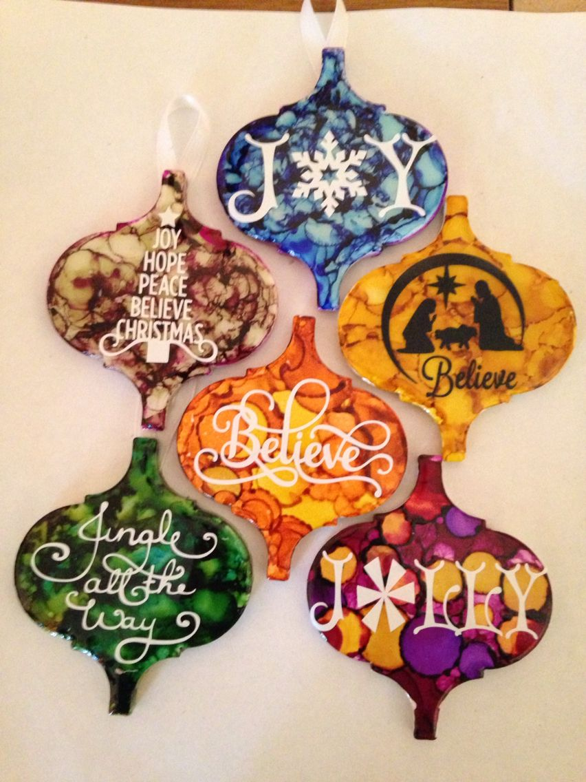 Ceramic Tiles Alcohol Ink And Vinyl Christmas Ornament Crafts Painted Christmas Ornaments Handmade Christmas