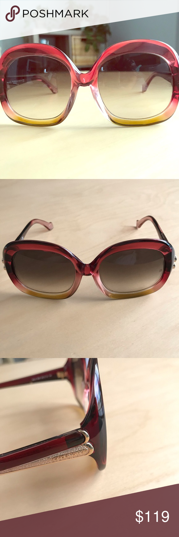 Balenciaga oversized Sunglasses Red, Made in Italy.  Pre loved, great condition …