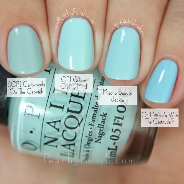 OPI Gelato On My Mind Comparison