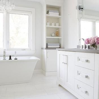 White Bathroom Cabinets With Gray Quartz Countertops White