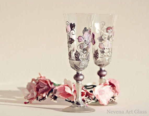 Champagne Flutes, Champagne Glasses, Wedding Glasses, HAND PAINTED, Set of 2