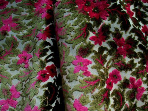 Antique Vintage Cut Velvet Upholstery Fabric Remnant Green Unique
