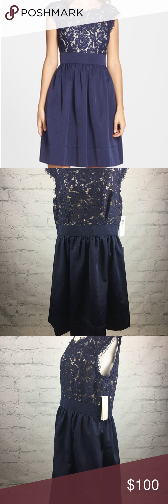 Eliza j navy lace formal dress sz nwt navy lace illusions and