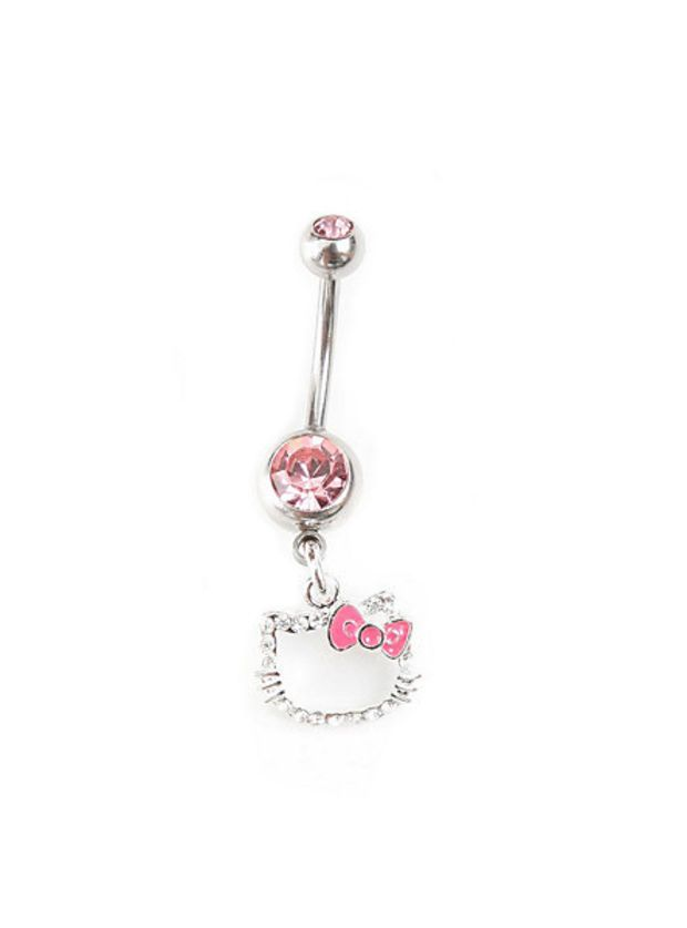 Hello Kitty 14g Pink Cubic Zirconia Navel Barbell Belly Button