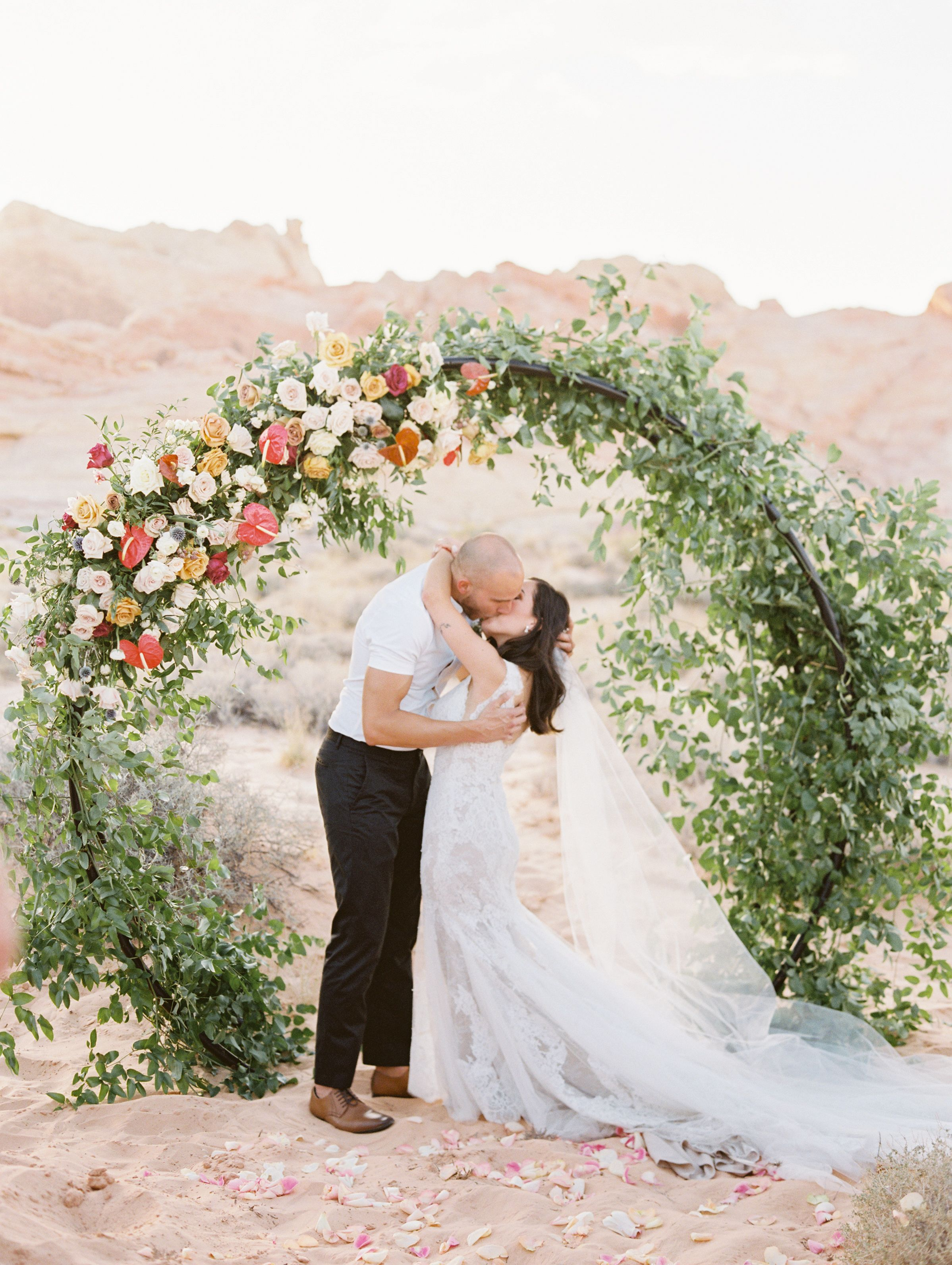 Round Floral Arch Wedding in the Desert Valley of Fire
