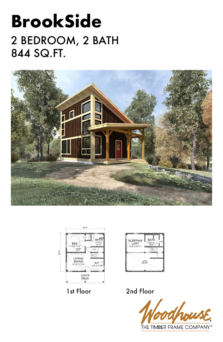 This Modern Timber Frame Cabin Home Is Small And Simple With An Open Floor Plan And A Slee Tiny Houses Plans With Loft Small Cabin Plans Cabin Plans With Loft