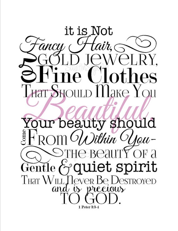 1 Peter 3 3:4 Beauty From Within Girls Room Inspirational