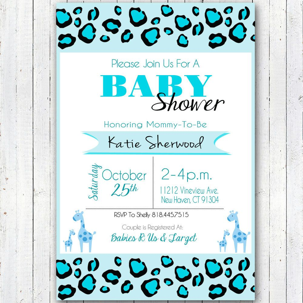 Printable Blue Safari Baby Shower Invitation 4X6 inches by ...