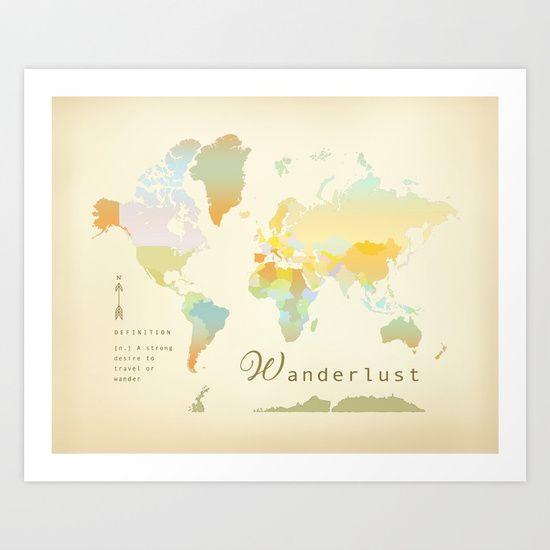 Wanderlust vintage world map art print art print by kokua design wanderlust vintage world map art print art print by kokua design company society6 gumiabroncs Image collections