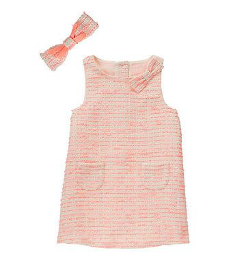Janie Jack floral girl modern tweed neon orange dress bow 18 24 month 2T 4T