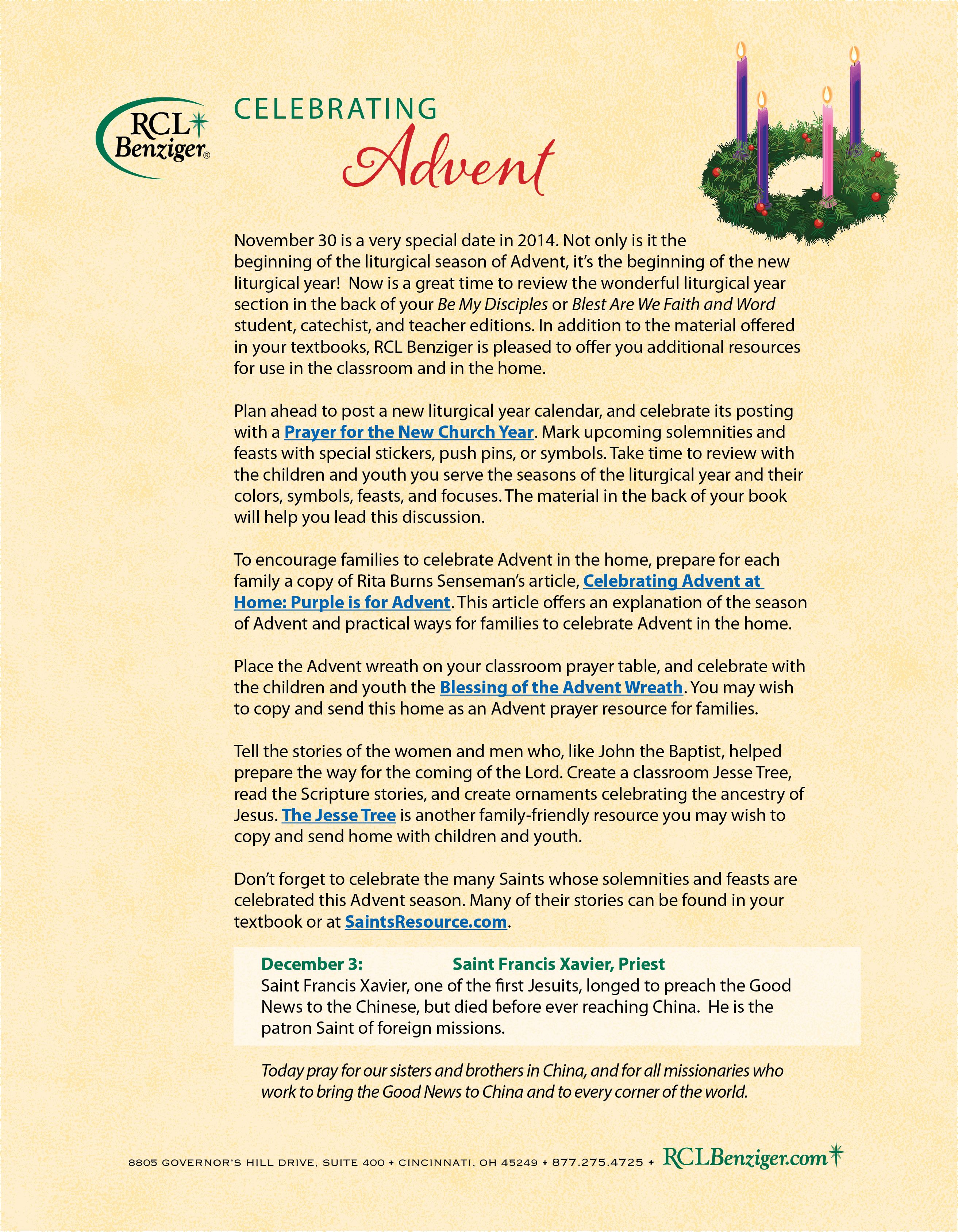 The advent season rcl benziger ideas for teachers and catechists the advent season rcl benziger ideas for teachers and catechists downloadable handouts buycottarizona Image collections