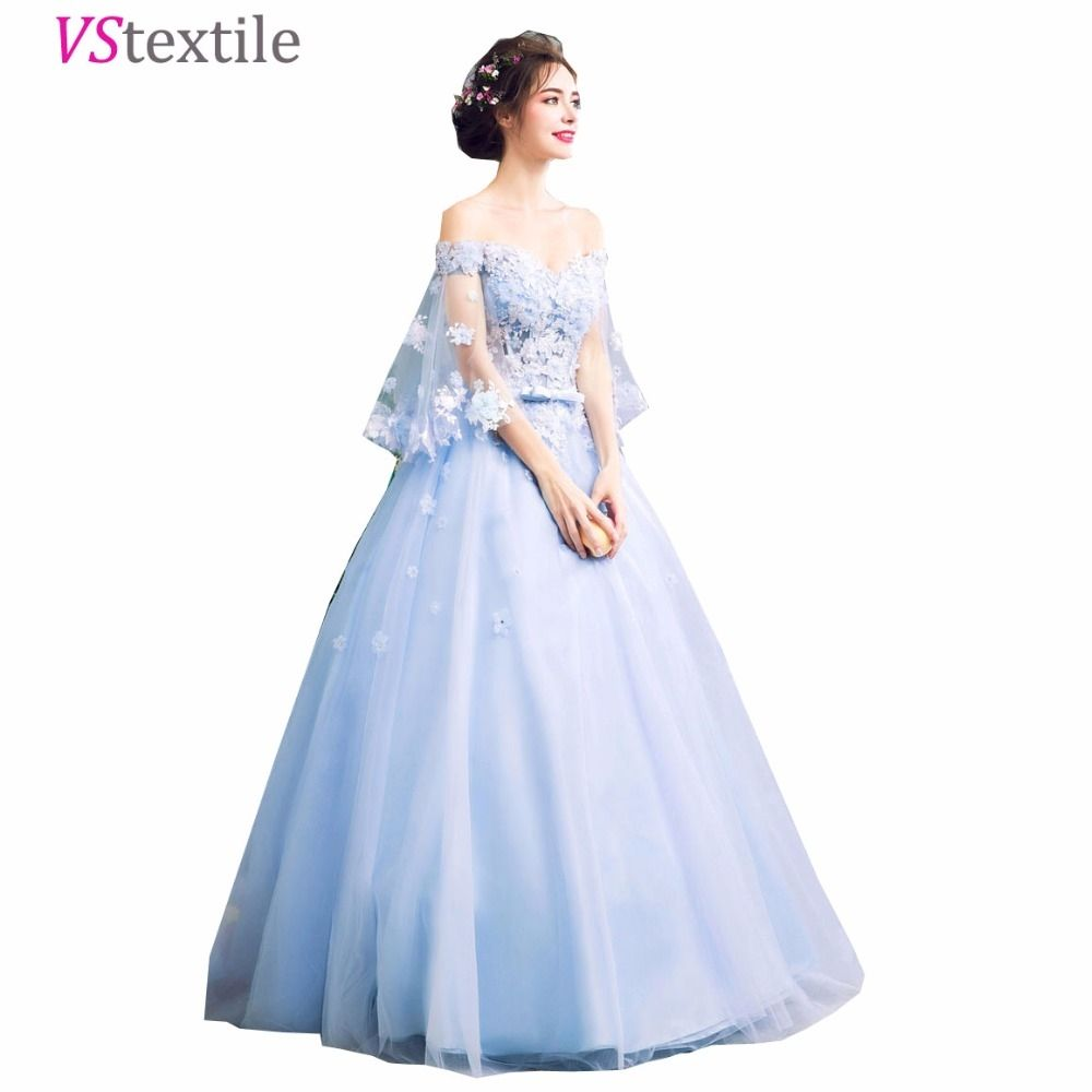 Dreamy short sleeves sky blue prom dresses party dress ball
