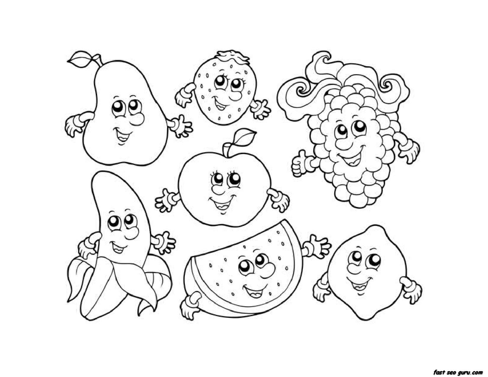 Apple Watermelon Strawberry Banana Gcoloring Pages