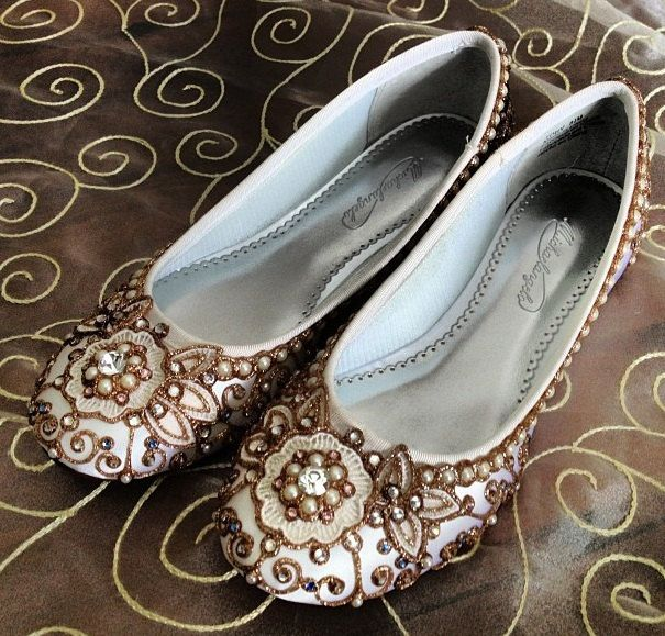 be1d7e868d18 Cherry Blossom Bridal Ballet Flats Wedding Shoes - Any Size - Pick your own  shoe color and crystal color.  215.00