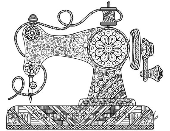 Old Fashioned Sewing Machine Coloring Page Pictures Pinterest
