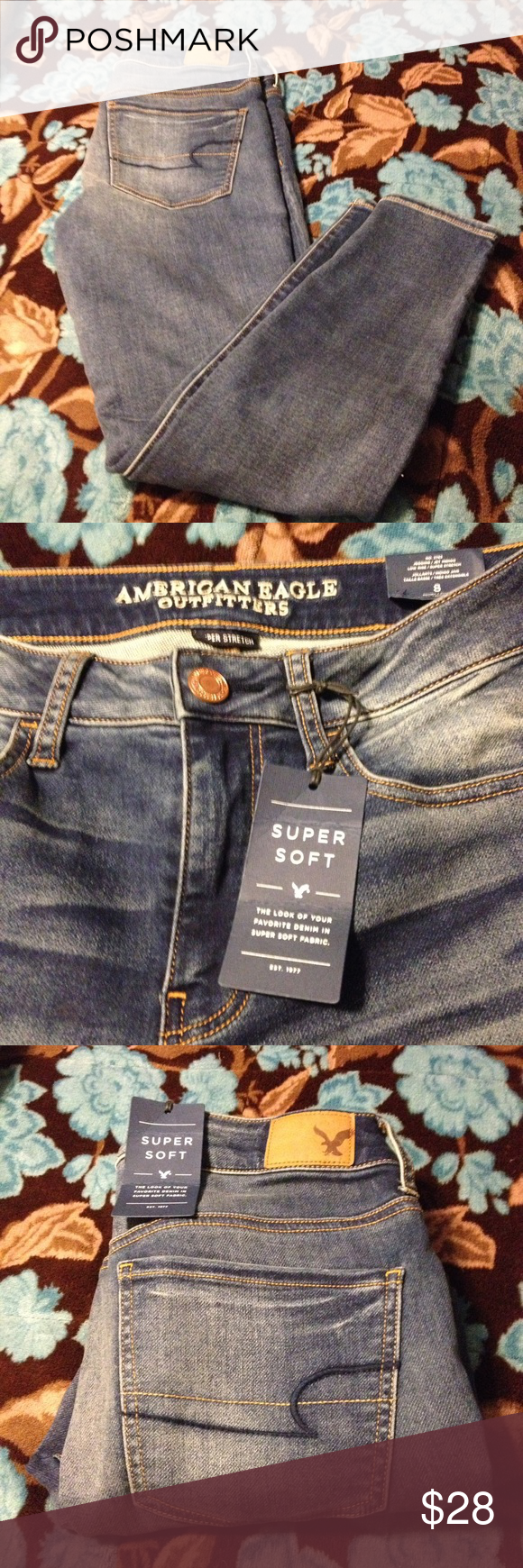 American Eagle Jeggings NWT American Eagle Jeggings size 8 Short. Super soft, super stretch, low rise indigo Jegging. 86%Cotton 13%Polyester 1%Elastane. Length 35 Inseam 26 1/2. American Eagle Outfitters Jeans