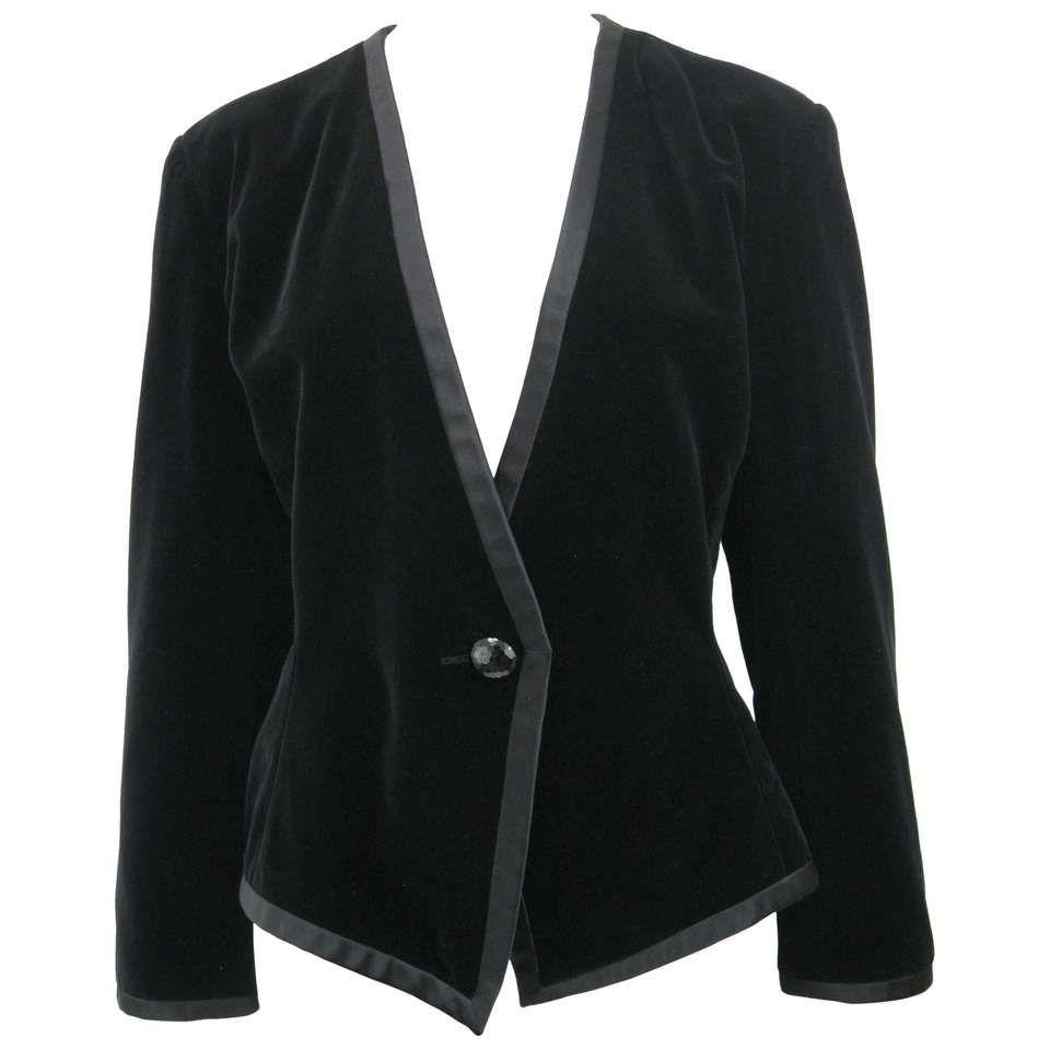 9d2fa4c34ce Yves Saint Laurent Rive Gauche Black Velvet Evening Jacket   fashion ...