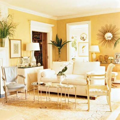 Buttery yellow and metallic accents--coming soon to my dining room ...