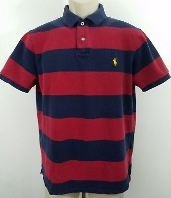 Vintage Polo Ralph Lauren Striped Rugby Shirt Blue Red • Large 1044