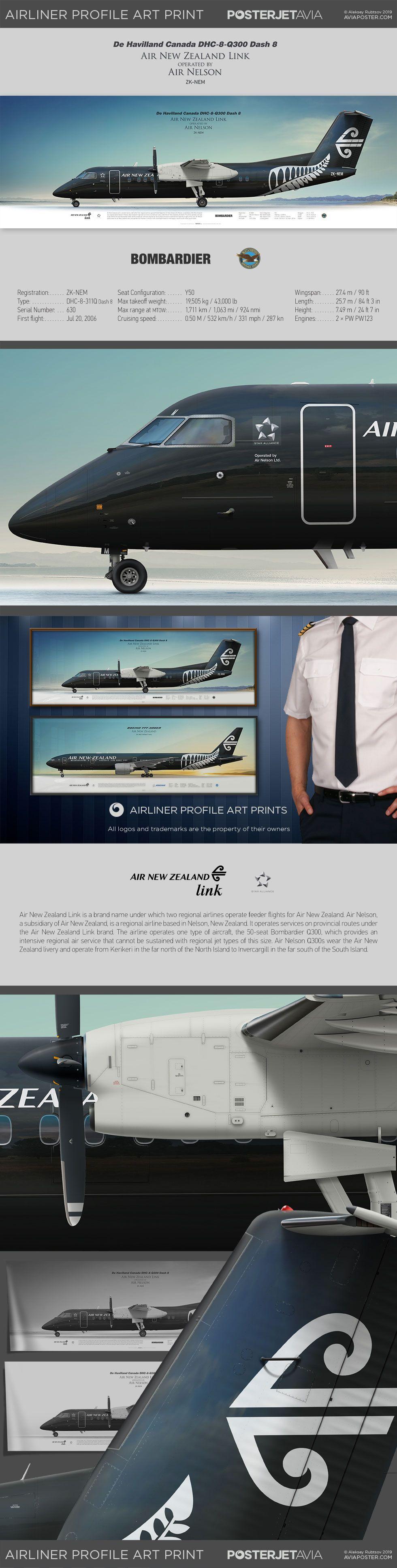 De Havilland Canada DHC-8-Q300 Air New Zealand opb Air Nelson | Airliner Profile Art Prints | #posterjetavia #aviation #aviationlovers #airplanes #planes #avgeek #airlineposter #pilotlife #pilots #instaplane #worldofaviation #instaaviation #profileprints