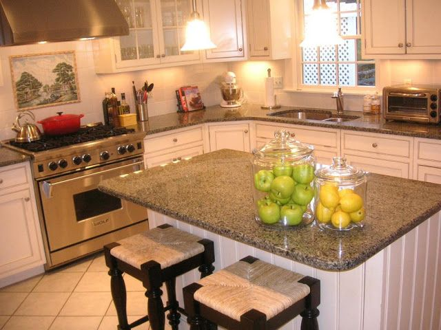 Bainbrook Brown Granite Countertops With White Cabinets