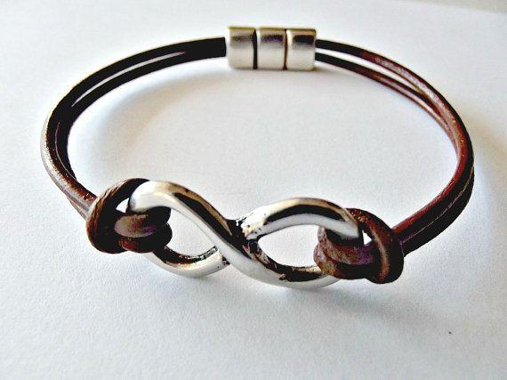 Infinity Bracelet Leather Mens By Kuartz On Etsy