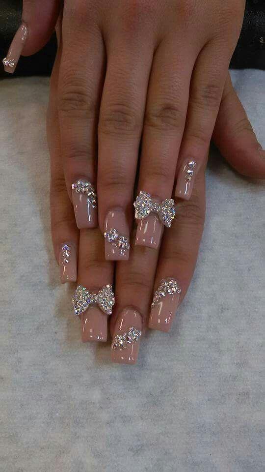 Con Piedras Uñas Con Moños Uñas De Acrilico Elegantes Y