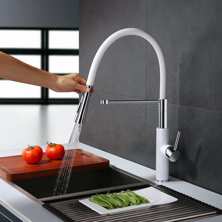 Homelody 360° Weiss hoher Auslauf Küchenarmatur Spiralfederarmatur - wasserhahn küche weiß