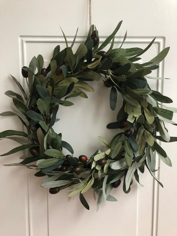 Photo of Olive Leaf Wreath Modern Wreath Gift for Mom Mother's Day Simple Artificial Housewarming Wreath Olive Branch Holiday Wreath Gift for Her