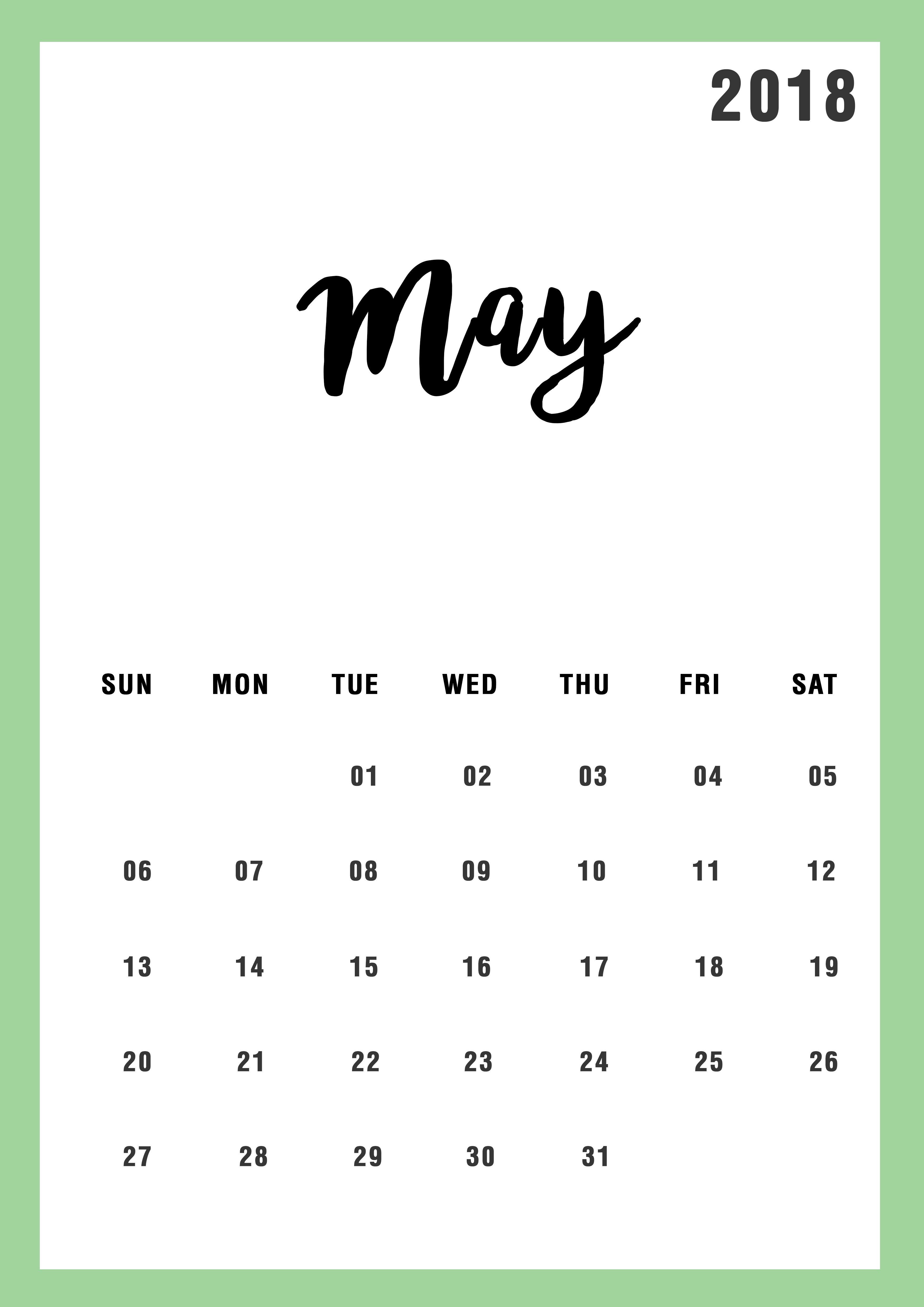 May 2018 Calendar Design Calendar