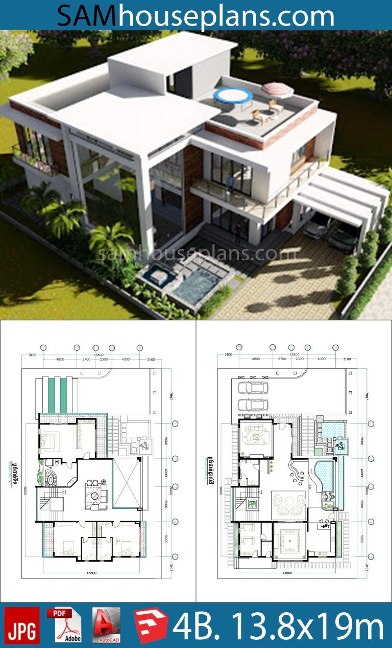 4 Bedroom Home Plan 13 8x19m Sam House Plans Model House Plan Modern Style House Plans Architectural House Plans
