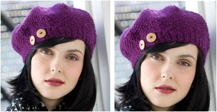 Gorgeous Buttoned Knit Beret Free Knitting Pattern Knitting And
