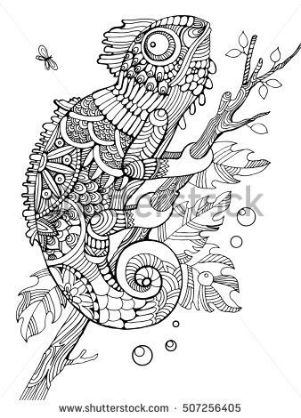 Chameleon Coloring Book For Adults Raster Illustration Anti Stress Adult Tattoo
