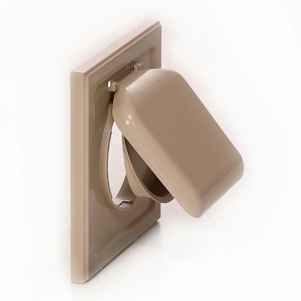 No Pest Vent 4 In Wide Mount Dual Door Wall Vent In Tan Npwrt The Home Depot In 2020 Wall Vents Door Wall Indoor Dryer Vent