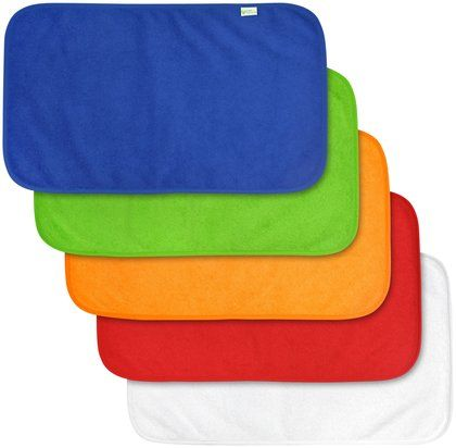 we would go through lots and lots of little towels while feeding, eating and general clean up. these terry burp cloths from green sprouts by i play are great and come in bright colors!