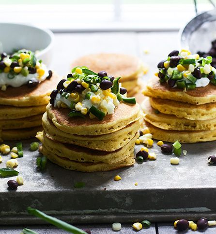Savory corn pancakes with black beans, corn and poblano peppers. #inspiredgathering #ad