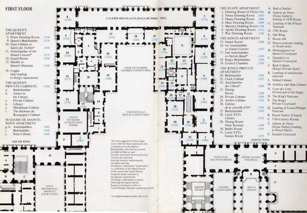 H mansart versailles chateau 1679 plan of first floor palace remodelling description from - Cabinet mansart versailles ...