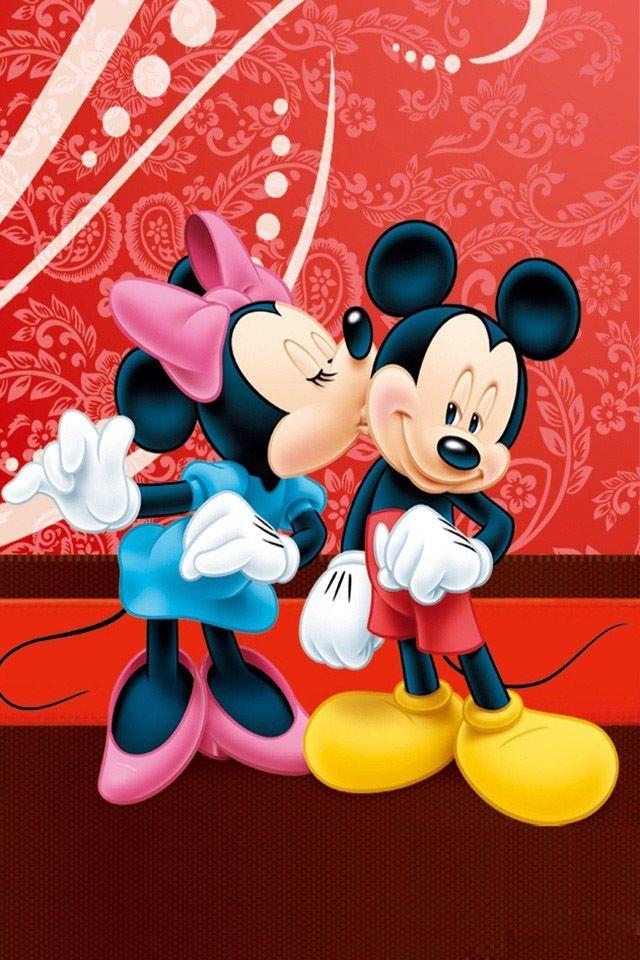 Minnie Kissing Mickey S Cheek Mickey Minnie Pinterest Mickey