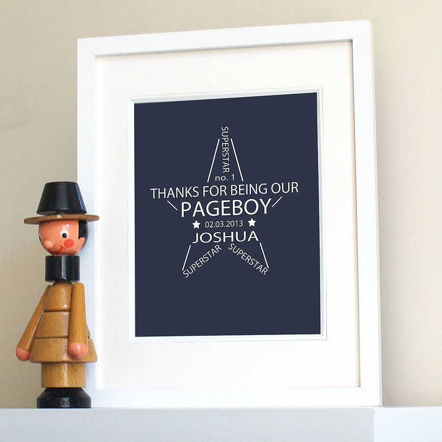 Personalised Pageboy Ring Bearer Print Page BoyOn The High StreetBoy GiftsAppreciation GiftsWedding